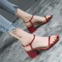 Sandals 35 36 37 38 39 Wine red pink off white Other / other PU Barefoot Square heel Middle heel (3-5cm) Summer of 2018 Flat buckle Korean version PU