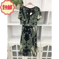 Dress Summer of 2018 Big green flowers on a black background M L XL 2XL Mid length dress singleton  commute V-neck middle-waisted lady Chiffon