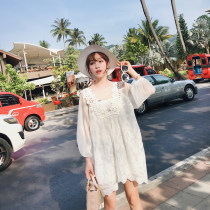 Dress Spring of 2018 white S M L Middle-skirt singleton  Long sleeves commute V-neck Loose waist Solid color Socket bishop sleeve 18-24 years old Type H Other / other Korean version Cut out lace eight thousand four hundred and thirty-three 31% (inclusive) - 50% (inclusive) Chiffon