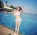 Bikini Shu Meizi white S M L XL Skirt bikini Steel strap breast pad Nylon, spandex and others One hundred and sixteen