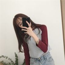 T-shirt White + blue white + gray + blue gray + jujube Average size Autumn of 2018 Long sleeves Crew neck Straight cylinder have cash less than that is registered in the accounts routine commute cotton 96% and above 18-24 years old Korean version youth Color matching