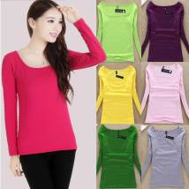 T-shirt Bean paste red jeans blue embroidery red grass green white yellow purple gray dark blue black green coffee pink rose red One size fits all Fall 2017 Long sleeves square neck Self cultivation Regular routine commute nylon 31% (inclusive) - 50% (inclusive) Simplicity classic Solid color