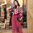skirt Autumn of 2018 S M L XL gules longuette Retro High waist Pleated skirt stripe Type A 25-29 years old 18Q928 More than 95% polyester fiber fold