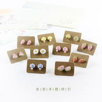 "Ear Studs other RMB 1.00-9.99 Other / other Semicircle watermelon pink strawberry pink carrot pink mushroom poached egg carrot yellow mushroom blue mushroom triangle watermelon sunflower brand new Japan and South Korea female goods in stock Fresh out of the oven Not inlaid Fruits ""Ear nails in clay"""