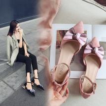 Low top shoes 35 36 37 38 39 Other / other Black Pink Sharp point Thick heel Suede Shallow mouth Middle heel (3-5cm) PU Summer of 2018 Flat buckle Korean version Adhesive shoes Youth (18-40 years old) Solid color rubber Single shoes Shallow bow PU daily 0107218995230
