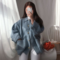 sweater Autumn of 2018 Average size Blue apricot Long sleeves Cardigan singleton  Medium length acrylic fibres 95% and above other Regular commute routine Solid color Straight cylinder Keep warm and warm 18-24 years old Pocket button Single breasted