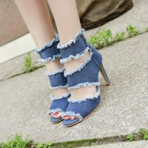 Sandals 35 36 37 38 39 40 Red light blue Other / other Denim Barefoot Fine heel High heel (5-8cm) Summer of 2018 zipper Korean version Solid color Adhesive shoes Youth (18-40 years old) rubber daily Front and rear trip strap Hollowing out Hollow PU PU Cool boots Frosting