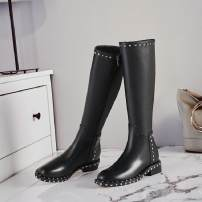Boots 34 35 36 37 38 39 Black (single lining) black (down lining) Superfine fiber Other / other Middle heel (3-5cm) Square heel top layer leather High tube Round head Artificial short plush Artificial short plush Winter 2017 Side zipper Europe and America rubber Solid color Knights' boots