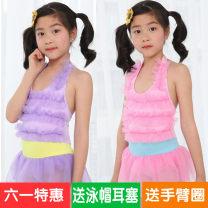 新品儿童游泳衣女孩可爱连体比基尼公主裙摆蕾丝系带中小女童泳装