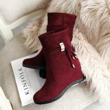 Boots 34 35 36 37 38 39 Suede Other / other Middle heel (3-5cm) Internal elevation Suede Middle cylinder Round head Superfine fiber Superfine fiber Autumn 2016 Sleeve Korean version rubber Solid color Tassel boots Adhesive shoes Microfiber skin Frosting 070937567
