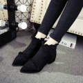 Boots 34 35 36 37 38 39 40 Black Plush Army Green Plush Army Black Green Suede Other / other Middle heel (3-5cm) Thick heel Suede Short tube Sharp point cloth cloth Spring of 2018 Back zipper Britain rubber Solid color Chelsea boots Adhesive shoes Microfiber skin spring and autumn Frosting One