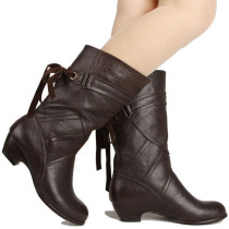 Boots 35 36 37 38 39 40 Thick with brown thick with black slope with black slope with brown top layer leather Taoke products Middle heel (3-5cm) Thick heel top layer leather Middle cylinder Round head cloth Artificial short plush Autumn 2016 Sleeve Sweet Composite bottom Solid color Tassel boots