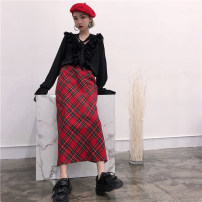 skirt Autumn of 2018 S M L gules commute High waist A-line skirt lattice Type H 18-24 years old 71% (inclusive) - 80% (inclusive) Other / other