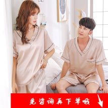 Pajamas / housewear set lovers Other / other [male XXL] [female M] [female l] [female XL] [female XXL] [male l] [male XL] [male XXXL] other Long sleeves luxurious pajamas summer Thin money Big lapel Solid color trousers double-breasted 2 pieces rubber string More than 95% silk Other article number r