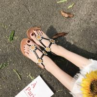 Sandals 35 36 37 38 39 Black and white Other / other PU Barefoot Flat bottom Flat heel (1cm or less) Summer of 2018 Flat buckle Korean version Solid color Adhesive shoes rubber Front and rear trip strap Hollow PU PU