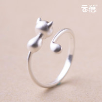 Ring / ring Silver ornaments 51-100 yuan Yunbei Smooth surface adjustment range 11-20 sanding adjustment range 11-20 tailing ring sanding adjustment range 3-9 brand new goods in stock Japan and South Korea lovers Fresh out of the oven Not inlaid Bear / pig / animal 925 Silver