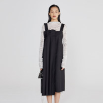 Dress Summer 2021 Black spot, black pre-sale within 15 days S, M Mid length dress singleton  Sleeveless street One word collar Loose waist Solid color zipper Irregular skirt camisole 25-29 years old Type H Self Who A1QZ109 71% (inclusive) - 80% (inclusive) other polyester fiber Europe and America