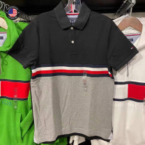 Polo shirt 2021 TOMMY HILFIGER Other leisure Youth fashion routine standard Four seasons Short sleeve teenagers Business Casual routine cotton Color block other Cotton 100% Splicing More than 95% Black with gray, royal blue with navy, white with blue, red with navy, yellow with white