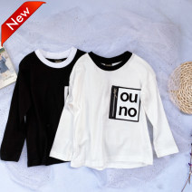T-shirt White, black Other / other neutral spring and autumn Long sleeves Crew neck nothing cotton other Cotton 100% Class A 5 years old, 6 years old, 7 years old, 8 years old, 9 years old, 10 years old, 11 years old, 12 years old, 13 years old, 14 years old and above Chinese Mainland