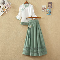Fashion suit Summer 2021 M,L,XL,XXL White top + green skirt, white top + blue skirt, white top + green skirt 18-25 years old 31% (inclusive) - 50% (inclusive) polyester fiber