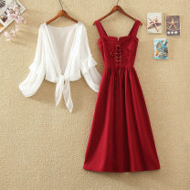 Dress Summer 2021 Red, black, single red skirt, single black skirt S,M,L,XL longuette Two piece set Sleeveless commute Polo collar High waist Solid color Socket A-line skirt routine camisole 18-24 years old Type A Korean version Fold, lace up 31% (inclusive) - 50% (inclusive) Chiffon polyester fiber