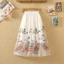 skirt Summer of 2018 Average size Mid length dress commute High waist Fluffy skirt Cartoon animation Type A 18-24 years old Korean fashion skirt other