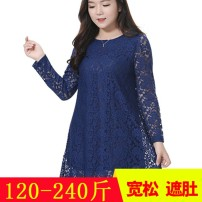 Women's large Autumn of 2018, winter of 2018 Dress commute moderate Long sleeves Plants and flowers Korean version Crew neck polyester Three dimensional cutting routine 35-39 years old Lace stitching 96% and above other Hollowing out