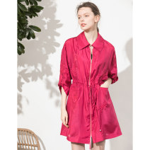 short coat Spring 2020 M, L rose red Long sleeves Medium length routine singleton  easy commute routine Polo collar zipper Solid color 30-34 years old Miccbeirn 96% and above Embroidery JHH11640 silk