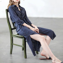 Dress Spring of 2019 B-stripe M, L Mid length dress singleton  three quarter sleeve commute Polo collar middle-waisted stripe Single breasted routine 30-34 years old Miccbeirn Simplicity pocket More than 95% silk
