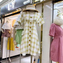 Dress Summer 2020 yellow Average size Mid length dress singleton  Short sleeve commute V-neck middle-waisted lattice Single breasted other other Others 18-24 years old Type H Korean version 51% (inclusive) - 70% (inclusive) other other