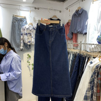 skirt Autumn 2020 S,M,L navy blue Mid length dress commute High waist Denim skirt Solid color Type A 18-24 years old 51% (inclusive) - 70% (inclusive) Denim other pocket Korean version 41g / m ^ 2 (including) - 60g / m ^ 2 (including)