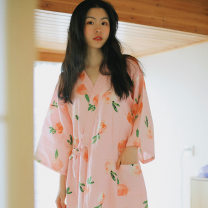 Nightdress August Gesang 160(M),165(L),170(XL) Sweet three quarter sleeve Leisure home Middle-skirt summer Plants and flowers youth cotton printing More than 95% Woven cotton fabric