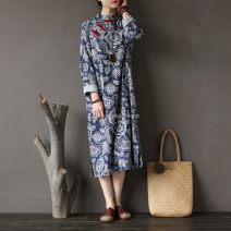 Dress Spring of 2018 blue Average size longuette singleton  Long sleeves commute stand collar Loose waist Big flower Socket routine 25-29 years old ethnic style Make old zz001831 51% (inclusive) - 70% (inclusive) hemp