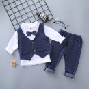 Suit / Blazer Navy, grey, red, red three piece Plaid vest, grey three piece Plaid vest, light blue three piece Plaid vest, Navy three piece Plaid vest 73cm,80cm,90cm,100cm,110cm Other / other male No model Britain spring and autumn stripe Single breasted routine cotton Cotton liner