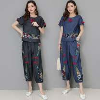 Fashion suit Summer of 2019 M,L,XL,XXL Gray, blue Other / other 71% (inclusive) - 80% (inclusive) hemp
