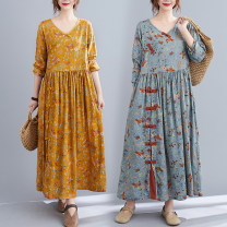 Dress Autumn 2020 Yellow, blue grey L,XL Mid length dress singleton  Long sleeves commute V-neck Decor routine Others Other / other ethnic style printing 71% (inclusive) - 80% (inclusive) other hemp