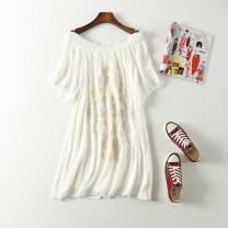 Dress Summer of 2019 white 50. XL, 2XL, extra small XX, chest 96cm, slightly small XXL, chest 110cm Mid length dress Short sleeve Sweet Decor Socket Princess Dress Type A Fringes, pleats, embroidery Bohemia