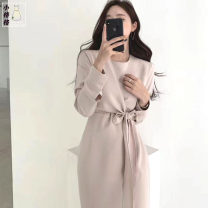 Dress Autumn 2020 S,M,L,XL Mid length dress singleton  Long sleeves commute Crew neck High waist Solid color other A-line skirt shirt sleeve 18-24 years old Type A Korean version Lace up, tie, button