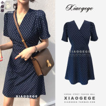 Dress Summer 2021 Navy Blue S,M,L,XL Short skirt singleton  Short sleeve commute V-neck High waist Dot A-line skirt routine Others 18-24 years old Type A Korean version 81% (inclusive) - 90% (inclusive) other other