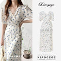 Dress Summer 2020 ivory S,M,L,XL longuette singleton  Short sleeve commute V-neck High waist Decor other Big swing routine Others 18-24 years old Type X Other / other Korean version Fold, tie, tie, print 30% and below Chiffon