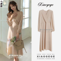 Dress Spring 2021 Pink S,M,L,XL Mid length dress singleton  Long sleeves commute V-neck middle-waisted Solid color zipper Big swing Wrap sleeves 25-29 years old Type A Korean version Bow, fold, lace, zipper Chiffon