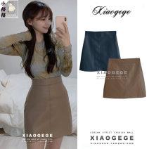 skirt Winter 2020 S,M,L,XL Blue, Khaki Short skirt commute High waist A-line skirt Solid color Type A 18-24 years old zipper Korean version