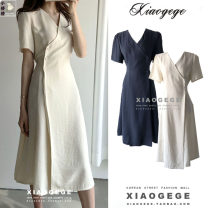 Dress Summer 2020 Dark blue, beige S,M,L,XL Mid length dress singleton  Short sleeve commute V-neck High waist Solid color Three buttons A-line skirt routine 18-24 years old Type A Other / other Korean version Lace up, button