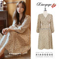 Dress Winter of 2019 Khaki XL,L,M,S Mid length dress singleton  Long sleeves commute V-neck High waist Decor Socket A-line skirt puff sleeve 18-24 years old Type A Other / other Korean version Lace up, printed
