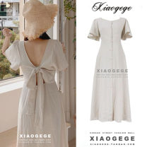 Dress Summer 2020 Apricot S,M,L,XL Mid length dress Short sleeve commute square neck High waist Solid color Single breasted A-line skirt Lotus leaf sleeve 18-24 years old Type A Other / other Korean version Bow, ruffle, open back, lace, bandage