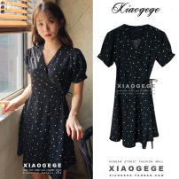 Dress Summer 2020 Picture color S,M,L,XL Short skirt singleton  Short sleeve commute V-neck High waist Dot other Ruffle Skirt other 18-24 years old Type A Korean version