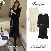 Dress Winter 2020 Black, apricot S,M,L Mid length dress singleton  Long sleeves commute V-neck High waist Solid color zipper Ruffle Skirt puff sleeve 18-24 years old Type A Korean version Hollow, lace 3281#