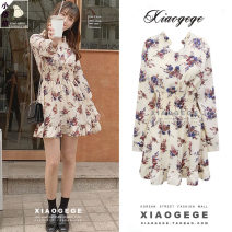 Dress Autumn of 2019 Picture color S,M,L,XL Short skirt singleton  Long sleeves commute V-neck High waist Decor Single breasted Ruffle Skirt shirt sleeve 18-24 years old Type A Other / other Korean version Ruffles, folds, Auricularia auricula, stitching, printing