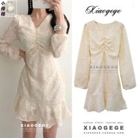 Dress Spring 2021 Milky white, black S,M,L,XL Short skirt singleton  Long sleeves commute V-neck High waist Solid color zipper Ruffle Skirt puff sleeve 18-24 years old Type A Other / other Korean version Ruffles, folds, stitching, lace