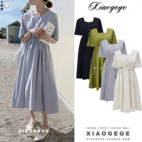 Dress Summer 2020 Apricot, light blue, dark blue, mustard green S,M,L,XL Mid length dress singleton  Short sleeve commute square neck High waist Solid color Single breasted A-line skirt routine 18-24 years old Type A Other / other Korean version Fold, lace up, button